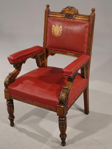 Finely Carved Late 19th Century Civic Armchair (1 of 8)