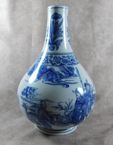 Chinese Blue & White Bulbous Bottle Vase (1 of 9)