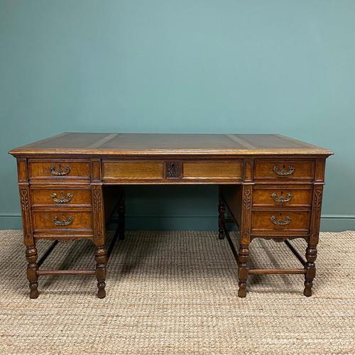Stunning Victorian Maple & Co Antique Oak Pedestal Desk (1 of 9)