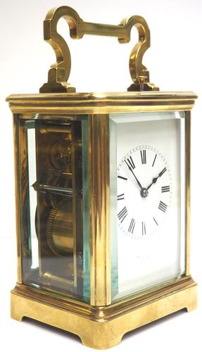 Good Antique French 8-day Repeat Carriage Clock Bevelled Case with Enamel Dial Gong Striking (1 of 15)
