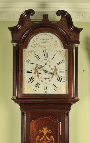 Mahogany Painted Dial Inlaid Longcase Clock - William Bownlie of Hamilton (1 of 8)