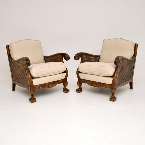 Pair of Antique Swedish Satin  Birch Bergere Armchairs (1 of 12)