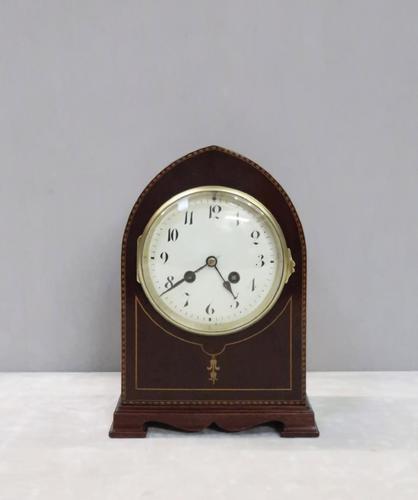French Belle Epoque Mahogany Mantel Clock (1 of 8)