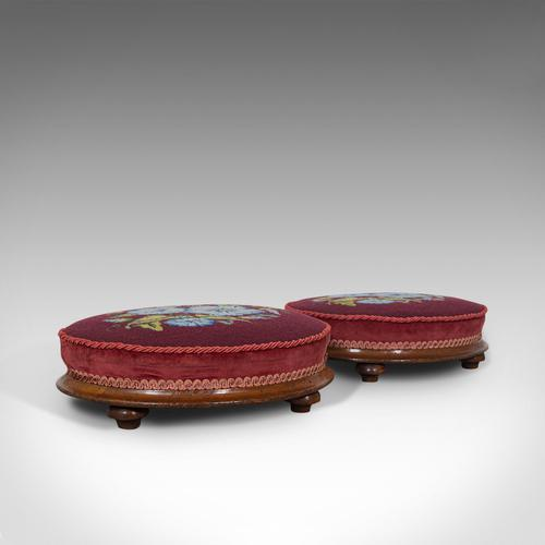 Pair of Antique Footstools, English, Walnut, Needlepoint, Rest, Victorian c.1860 (1 of 12)
