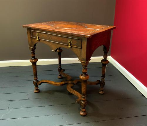 Outstanding William & Mary Style Leather & Stud Bound Country Oak Lowboy Table (1 of 18)