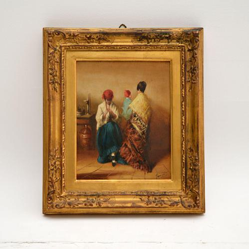 Antique Oil Painting in Gilt Wood Frame (1 of 9)