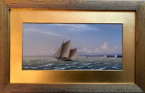'The Sailing Yacht Henrietta' by I. W. Jenner Oil on Board 1872 (1 of 1)