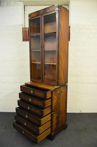 Quality Mahogany Campaign Bookcase on Chest (1 of 9)