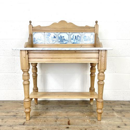 Antique Pine & Marble Washstand (1 of 10)