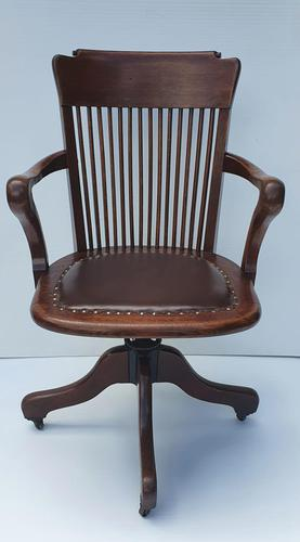 Large Size Early 20th Century Solid Oak Office Chair (1 of 6)
