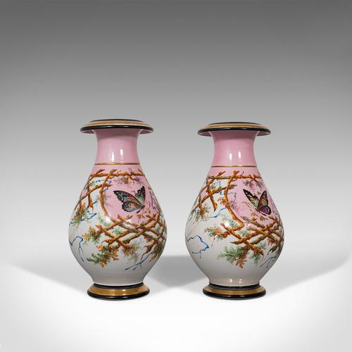 Antique Pair of Peony Vases, French, Decorative Ceramic Urn, Victorian c.1890 (1 of 12)