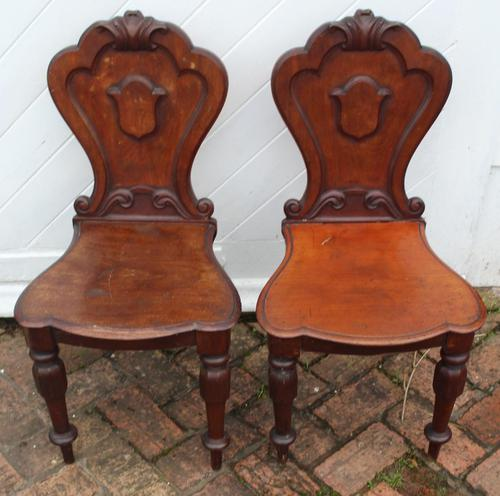 1920's Pair of Carved Mahogany Hall Chairs (1 of 3)