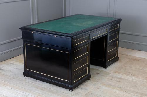 1930s French Ebonised Pedestal Desk (1 of 7)