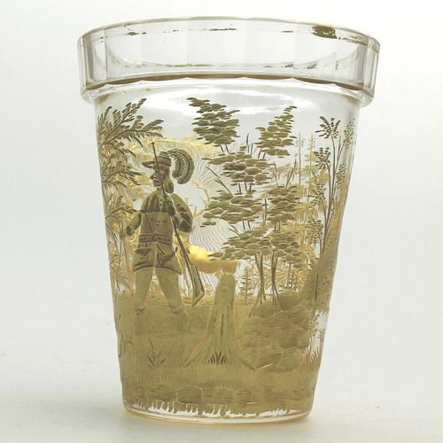 An Extremely Rare & Exceptional St Hubert Gilt Glass Beaker C.18th/early 19thc (1 of 10)
