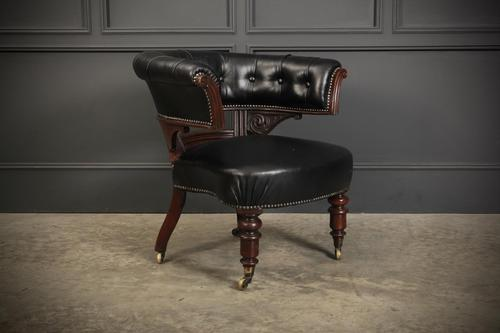 Victorian Mahogany & Black Leather Captains Desk Chair (1 of 11)