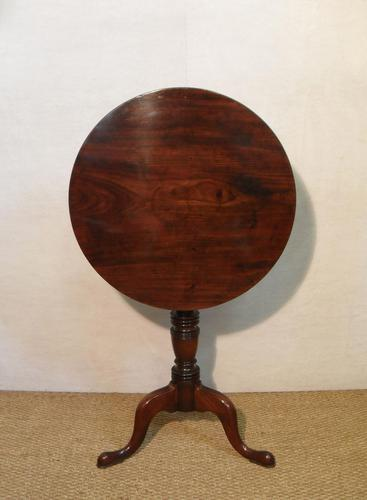 English Georgian Figured Mahogany Tilt Top Tripod Table (1 of 7)