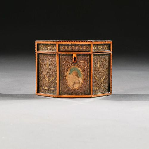18th Century Georgian Paper Scrolled Quilled Satinwood Tea Caddy (1 of 6)