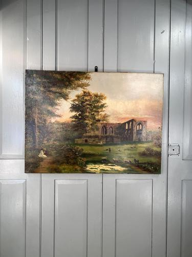 Antique Landscape Oil Painting of Ruined Gothic Abbey with Sheep Signed FCH (1 of 10)