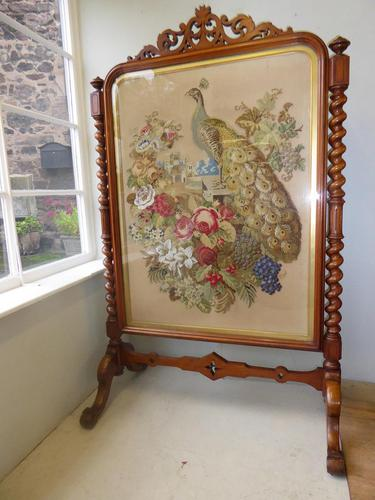Large 19th Century Needlepoint Fire Screen (1 of 10)