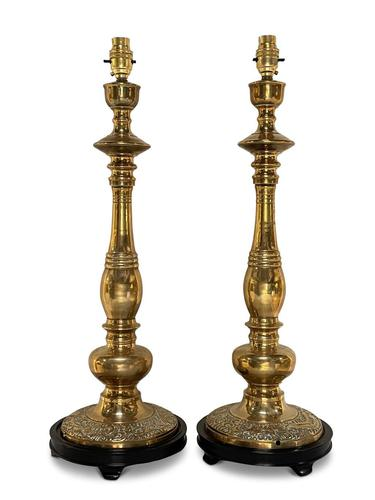 Anglo-Indian Pair of Brass Table Lamps (1 of 4)