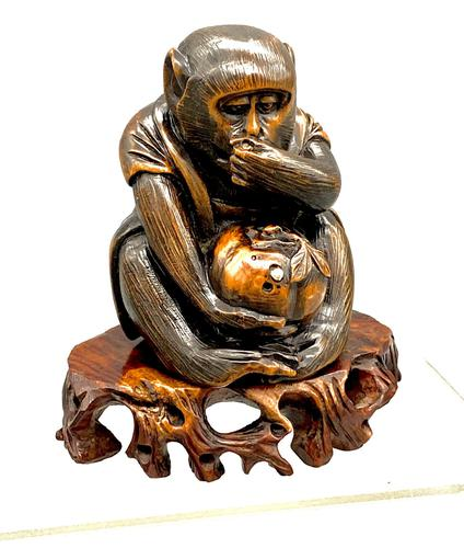 Signed Netsuke of a Monkey (1 of 8)