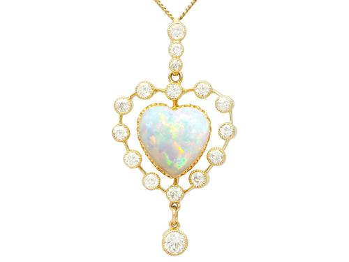 5.48ct Opal & 2.91ct Diamond, 15ct Yellow Gold Heart Pendant - Antique c.1910 (1 of 9)