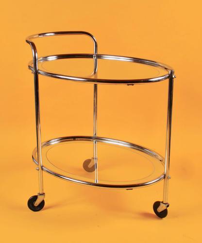 Original 1930s Art Deco Chrome & Mirror Modernist Cocktail Trolley (1 of 7)