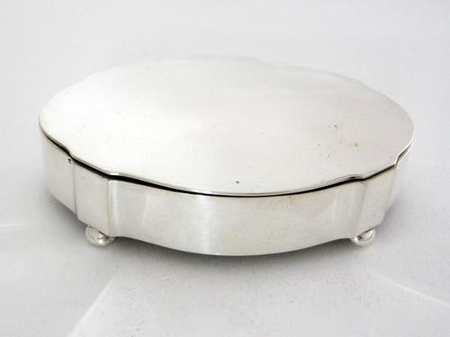 Antique Silver Jewellery Box in a Shaped Oval Form and Hinged Lid (1 of 6)