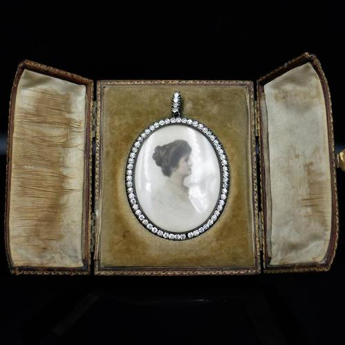 Antique Paste Portrait Miniature Silver Oval Locket Pendant in Box (1 of 9)