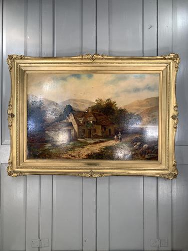 Antique Victorian large landscape oil painting in gilt gesso frame by E Yates (1 of 10)