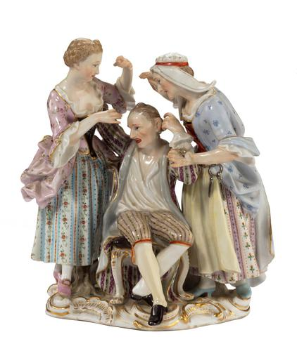 Late 19th Century Meissen Group of Two Women Tormenting a Male (1 of 7)