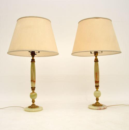Pair of French Style Onyx Table Lamps (1 of 6)