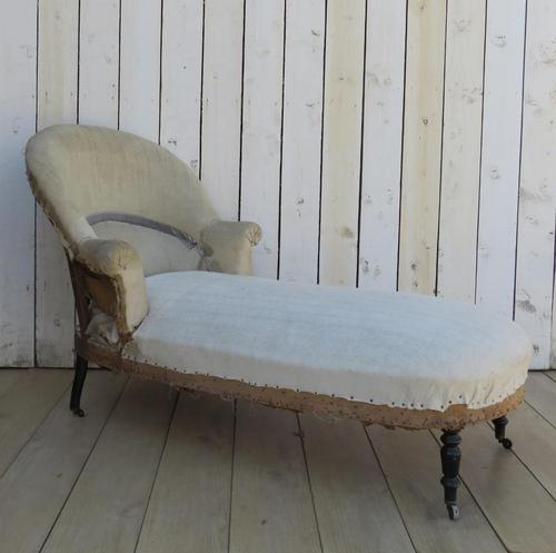 Antique French Chaise Longue Day Bed for re-upholstery (1 of 9)