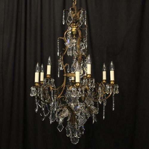 French Gilded Bronze Birdcage Crystal Chandelier (1 of 10)