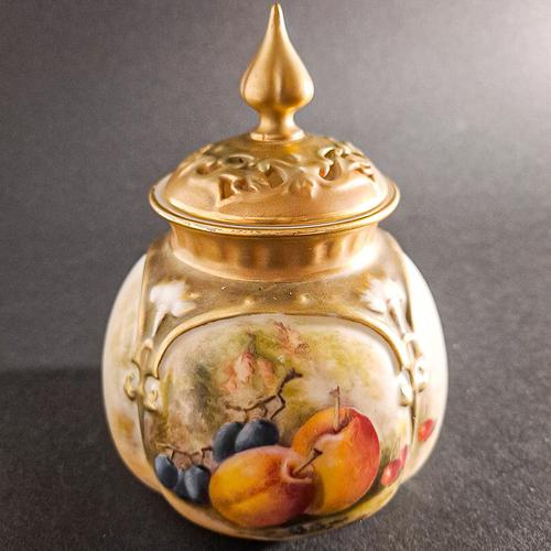 Royal Worcester Fruit Painted Pot & Cover (1 of 6)
