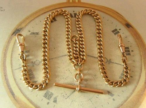 Antique Pocket Watch Chain 1890s Victorian Large 10ct Rose Rolled Gold Albert With T Bar (1 of 12)