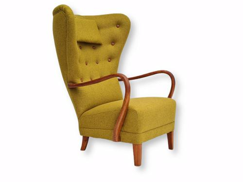 Danish Design, 1960s, Restored-reupholstered High-backed Armchair, Furniture Wool (1 of 13)
