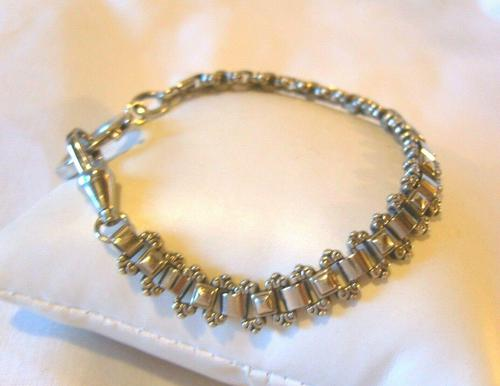 "Antique Bracelet 1890s Victorian Silver Nickel Fancy Link 7 1/2"" Length 13.6 Grams (1 of 12)"