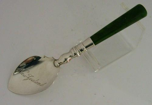 Rare New Zealand Solid Sterling Silver Jade Spoon 1924 Antique (1 of 7)