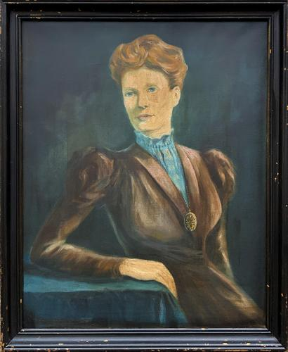 Stylish Mid 20th Century Vintage Portrait Oil Painting of a Trendy Seated Lady (1 of 11)