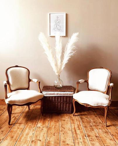 French Antique Style Chairs / Louis XV Armchairs / Walnut Chairs / Fauteuils (1 of 8)