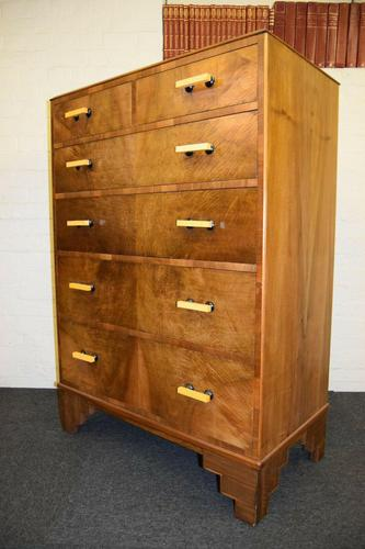 Lovely Walnut Art Deco Chest of Drawers (1 of 11)