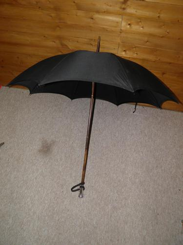 Antique Hallmarked 1919 Silver Umbrella with Black Canopy by Hoyland (1 of 13)