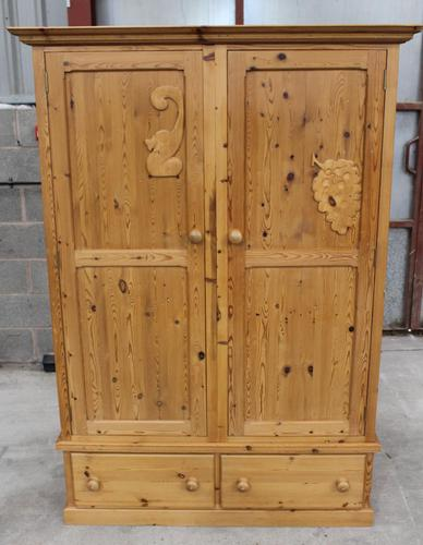 1960s Country Pine 2 Door Wardrobe with Base Drawers and Carved Detail (1 of 5)