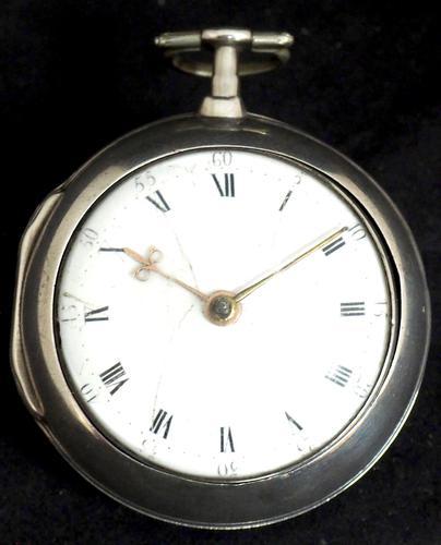 Antique Silver Pair Case Pocket Watch Fusee Verge Escapement Key Wind Enamel Dial W J Wolverhampton (1 of 11)