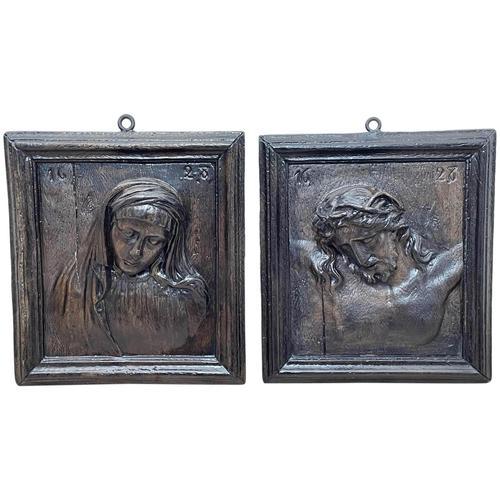 Pair of Antique Belgium Ecclesiatical Mary & Jesus Wall Plaster Plaque Sculptures (1 of 18)