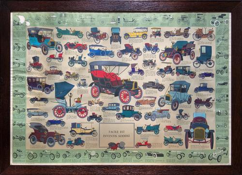 Intriguing Very Large 1960s Oak Framed Vintage Car Automotive Lithograph Poster (1 of 13)
