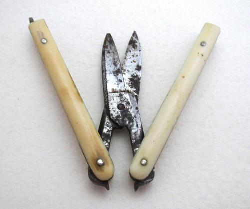 Antique Victorian Patent Pocket Folding Manicure Scissors, Carbon Steel c.1880 (1 of 7)