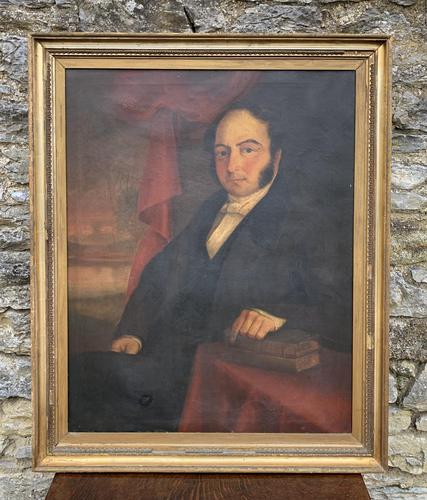 Large Antique Oil on Canvas Portrait of a Gentleman (1 of 19)