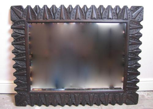 Large Arts & Crafts Carved Oak Framed Mirror (1 of 2)